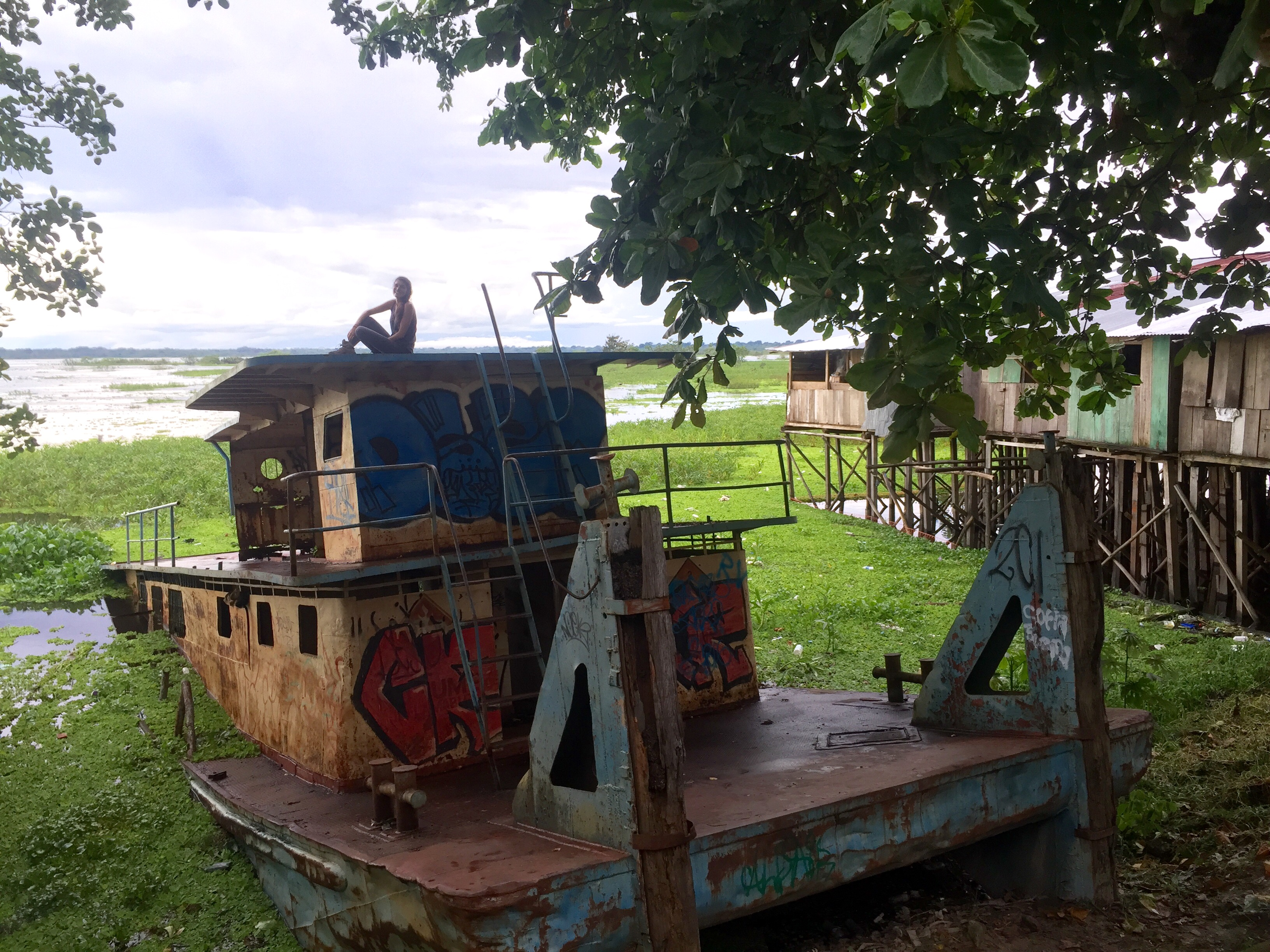 Abandoned boat in Iquitos.