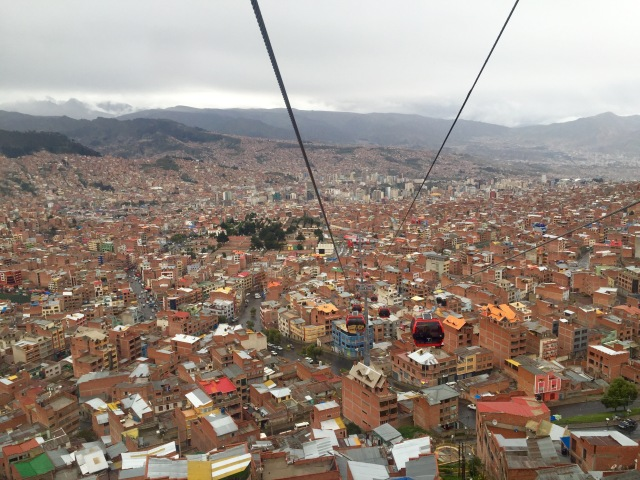 View of La Paz from the cable car going to Alto.