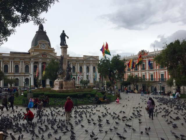 One of the main squares in La Paz.