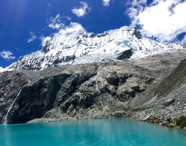 Laguna 69, the glacial lake deposit from Chacraraju, of the mountains of Cordillera Blanca at 4650 meters above sea level. Huarascaran National Park is home to the highest mountain in Peru.