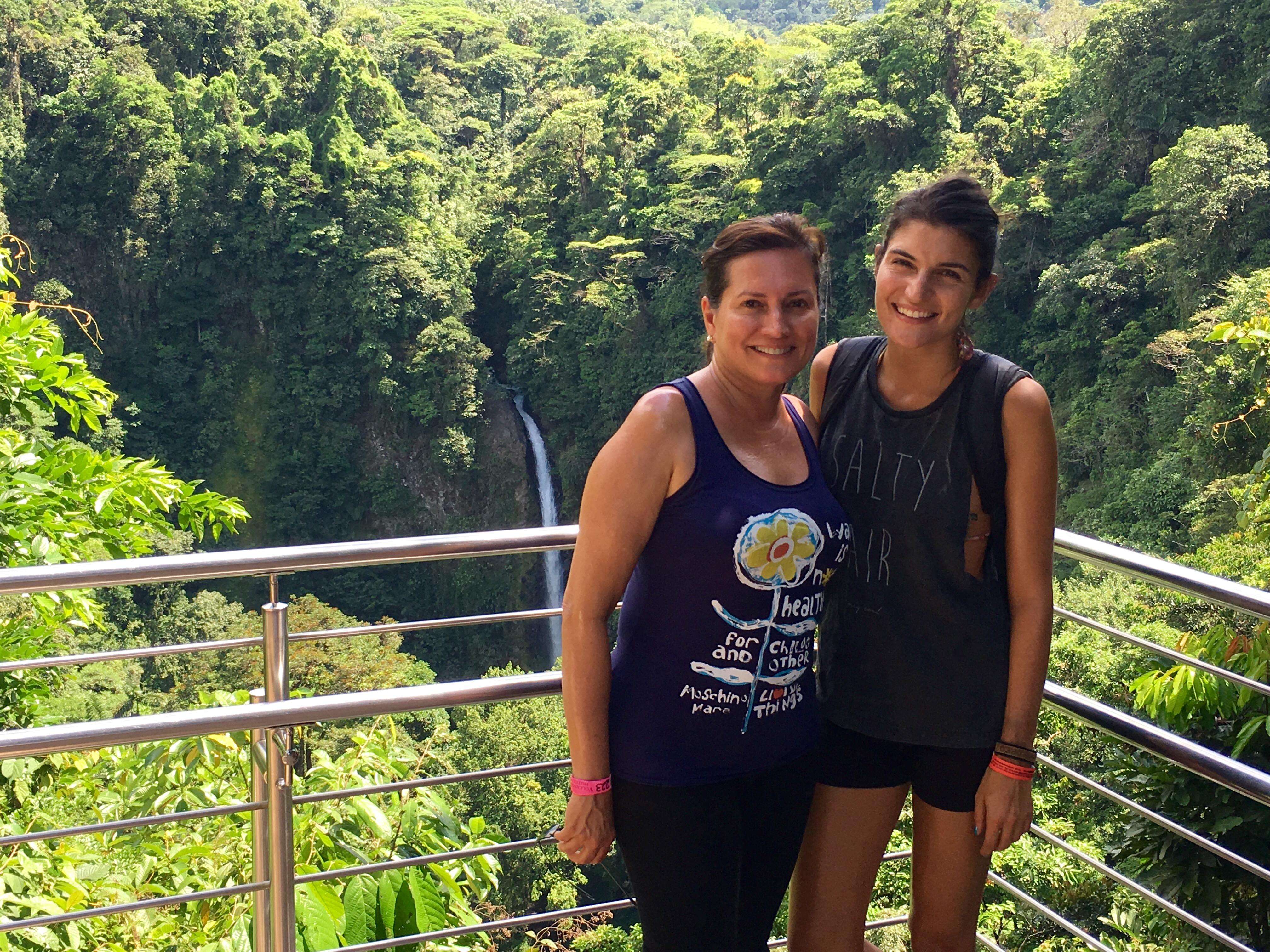 My mother and I visiting a waterfall outside of La Fortuna.