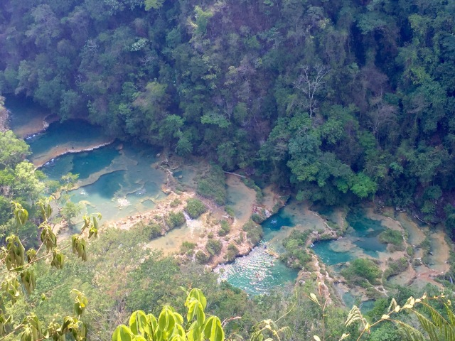 A view from above of the pools at Semuc Champey.