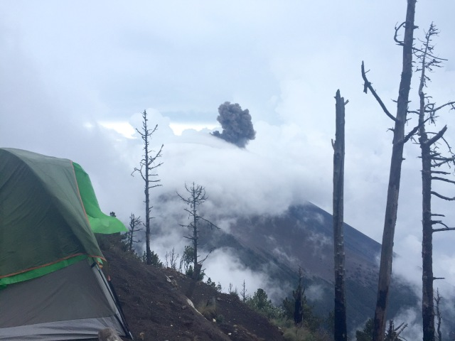 Volcan de Fuego erupting ash seen at our basecamp site.