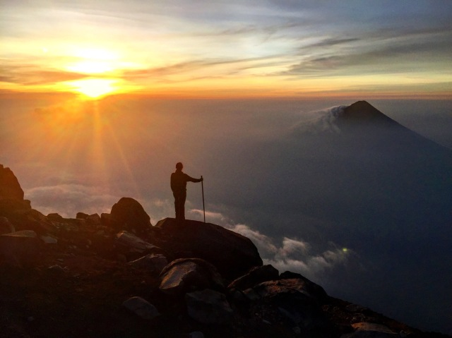 Sunrise at the summit of Acatenango Volcano.